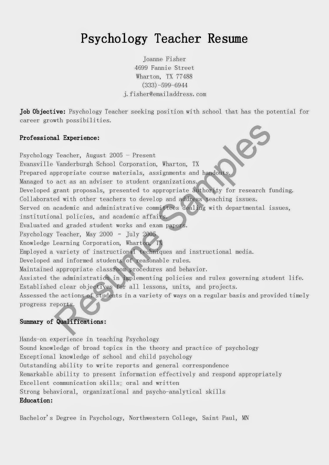 resume samples psychology teacher resume sample