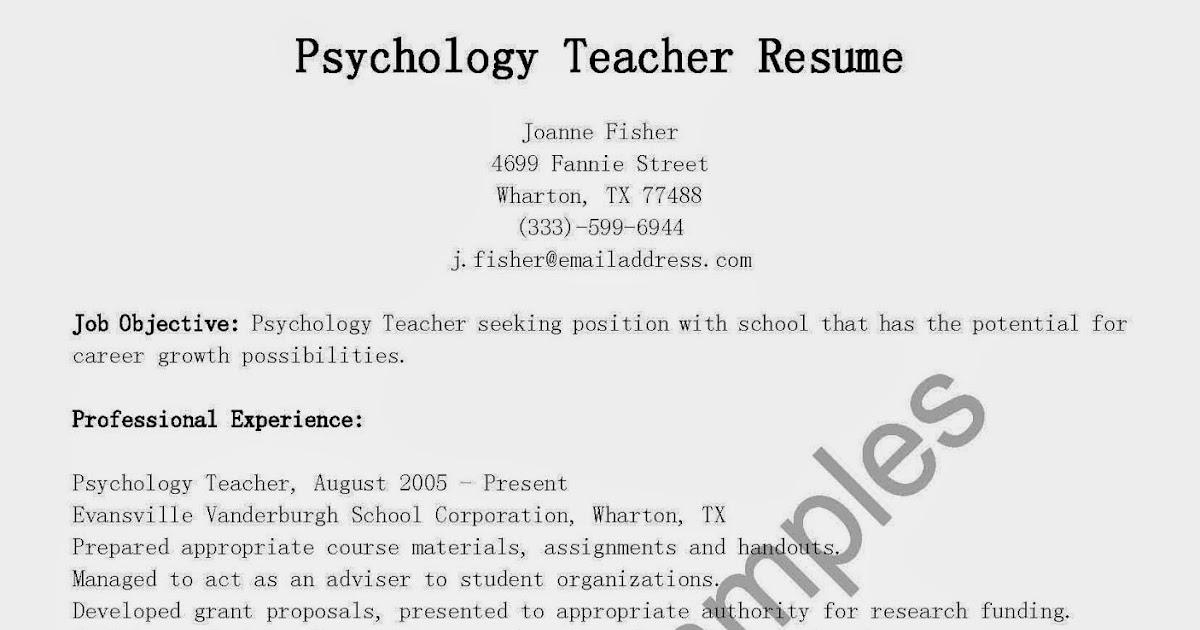 resume samples  psychology teacher resume sample