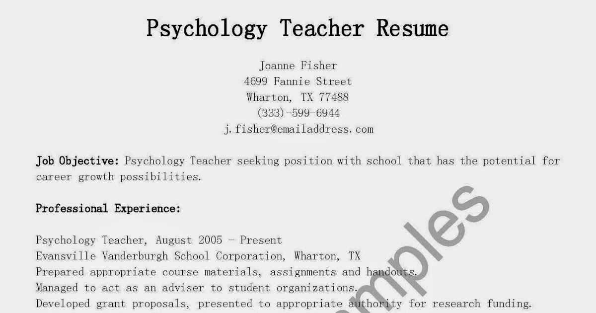 psychology resume template