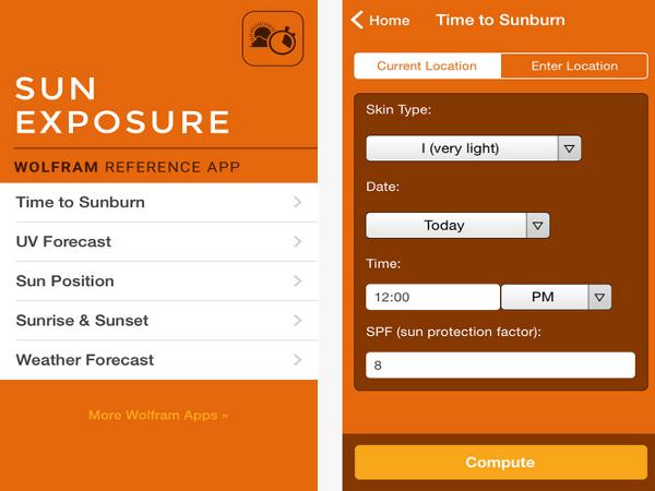 App Wolfram Sun Exposure