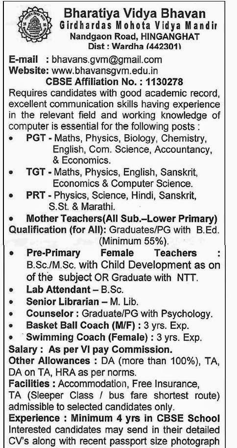 Jobs in Bhavans School Wardha,2015