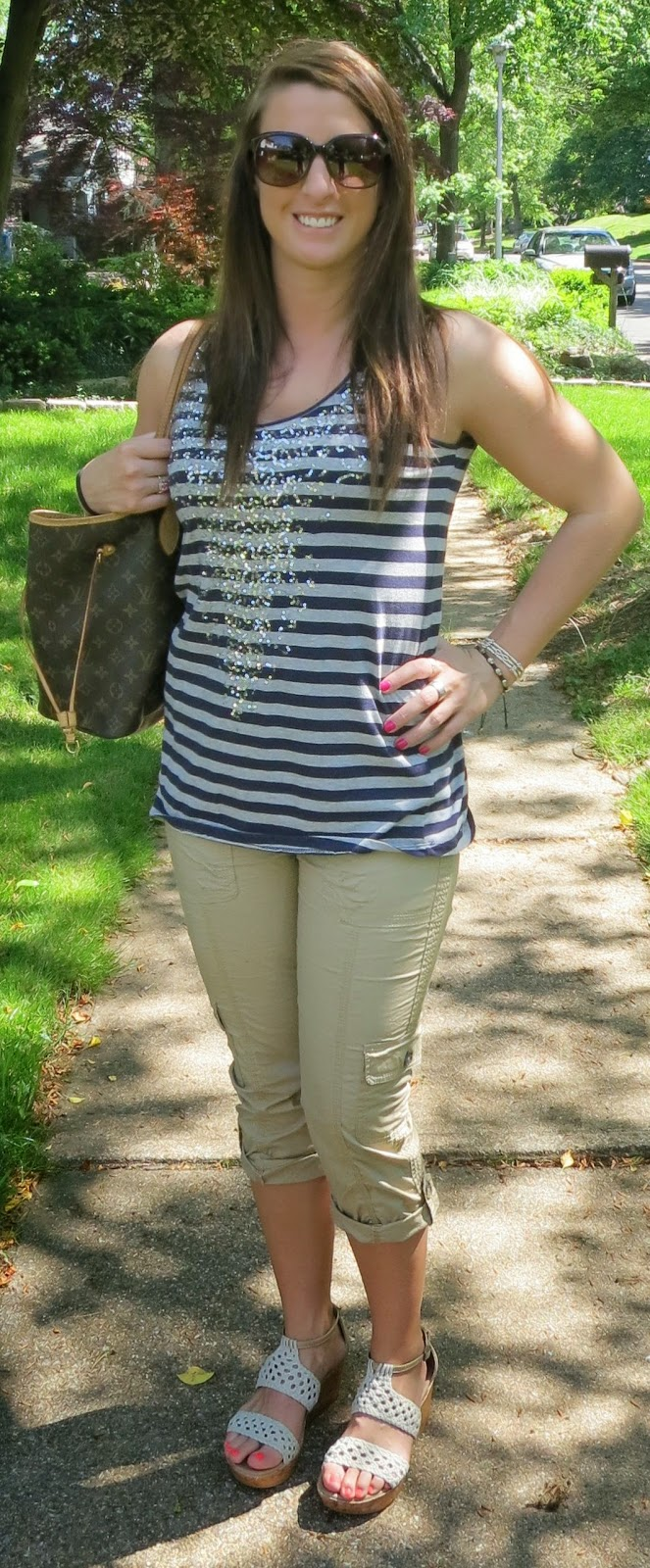 casual, outfit, summer, khakis, striped tank, wedge sandals, fashion