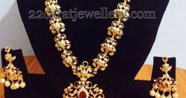 1 Gram Gold Cz Pretty Long Chain Jewellery Designs
