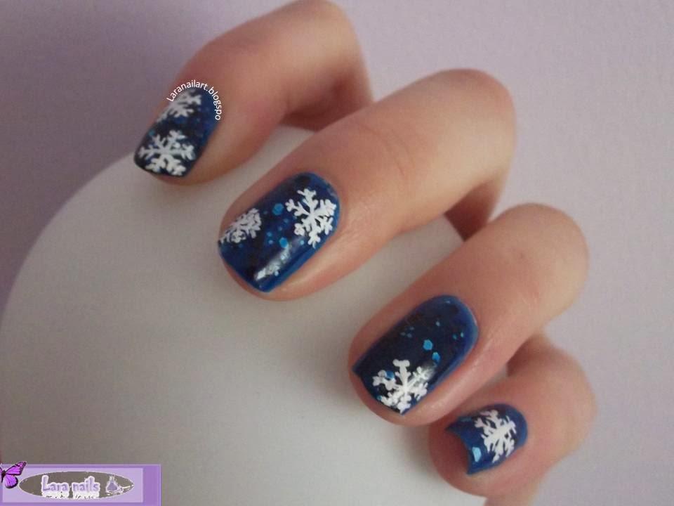 Lara Nails uñas con copos de nieve paso a paso