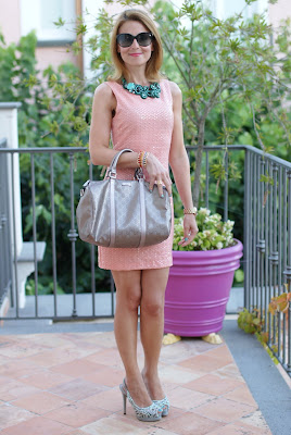 H&M peach sequin dress
