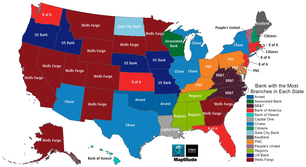 Most Popular Bank In Each State Vivid Maps - 4 regions of us map