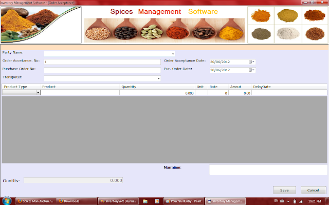 Order Acceptance Entry in Spices Software in Rajkot,Gujarat,India