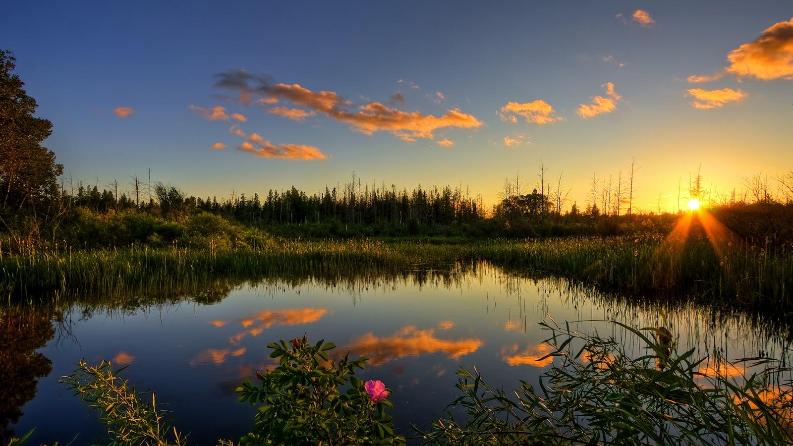 wallpaper proslut: Sun Ray Lake Full HD Nature Background Wallpaper