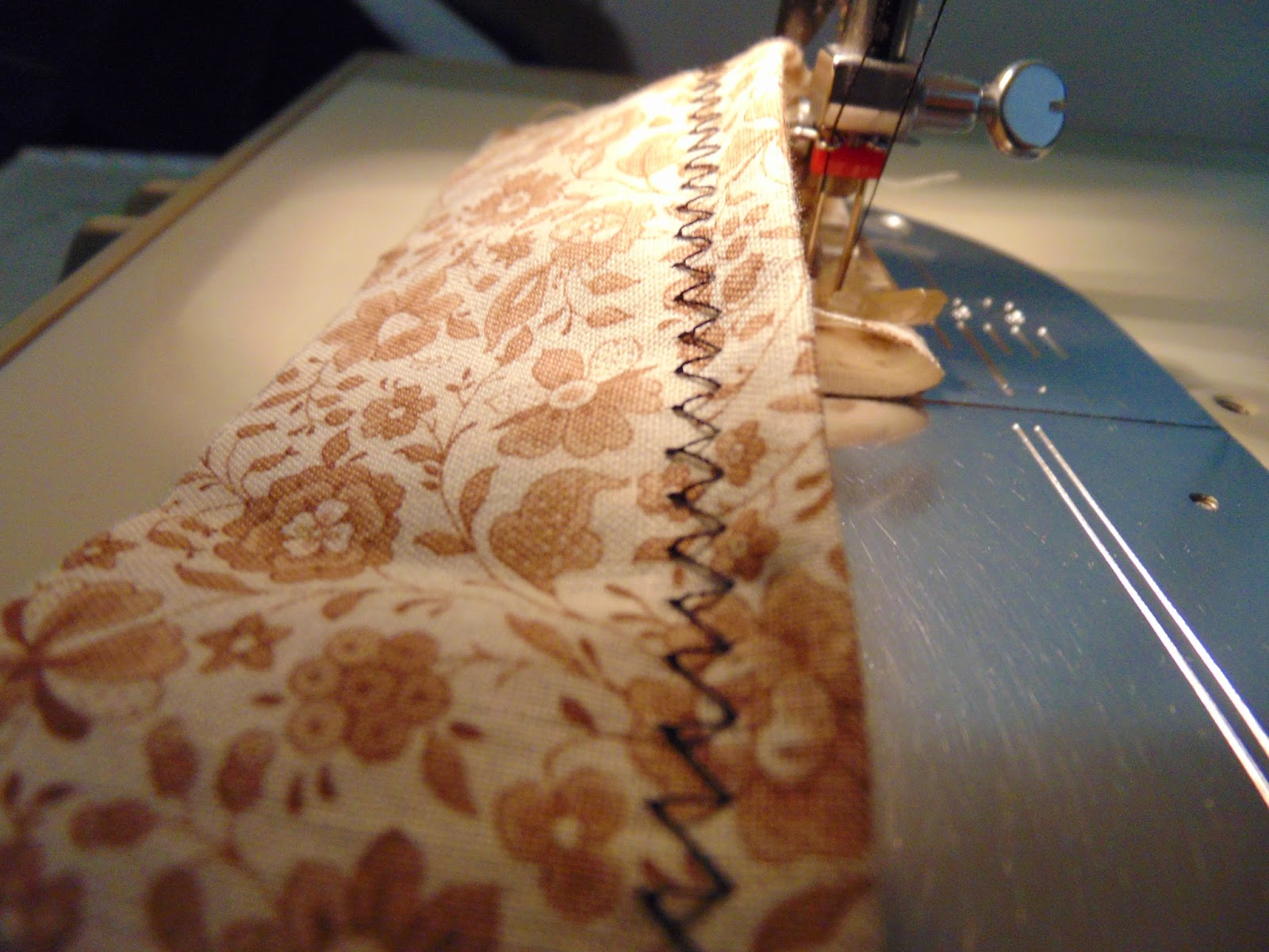 Sample shows backside of double needle sewing