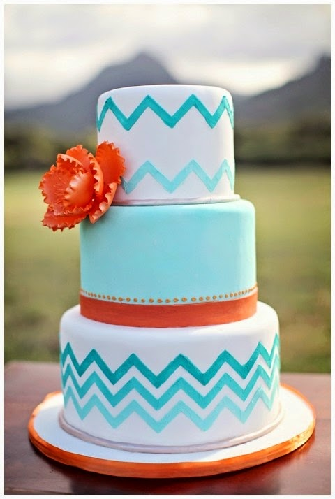 aqua and orange wedding cake