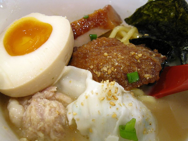 , chicken meatballs, shrimp wanton, chicken wing, chicken chashu ...