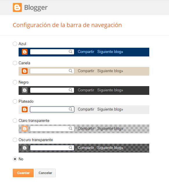 barra de navegación o navbar de blogger
