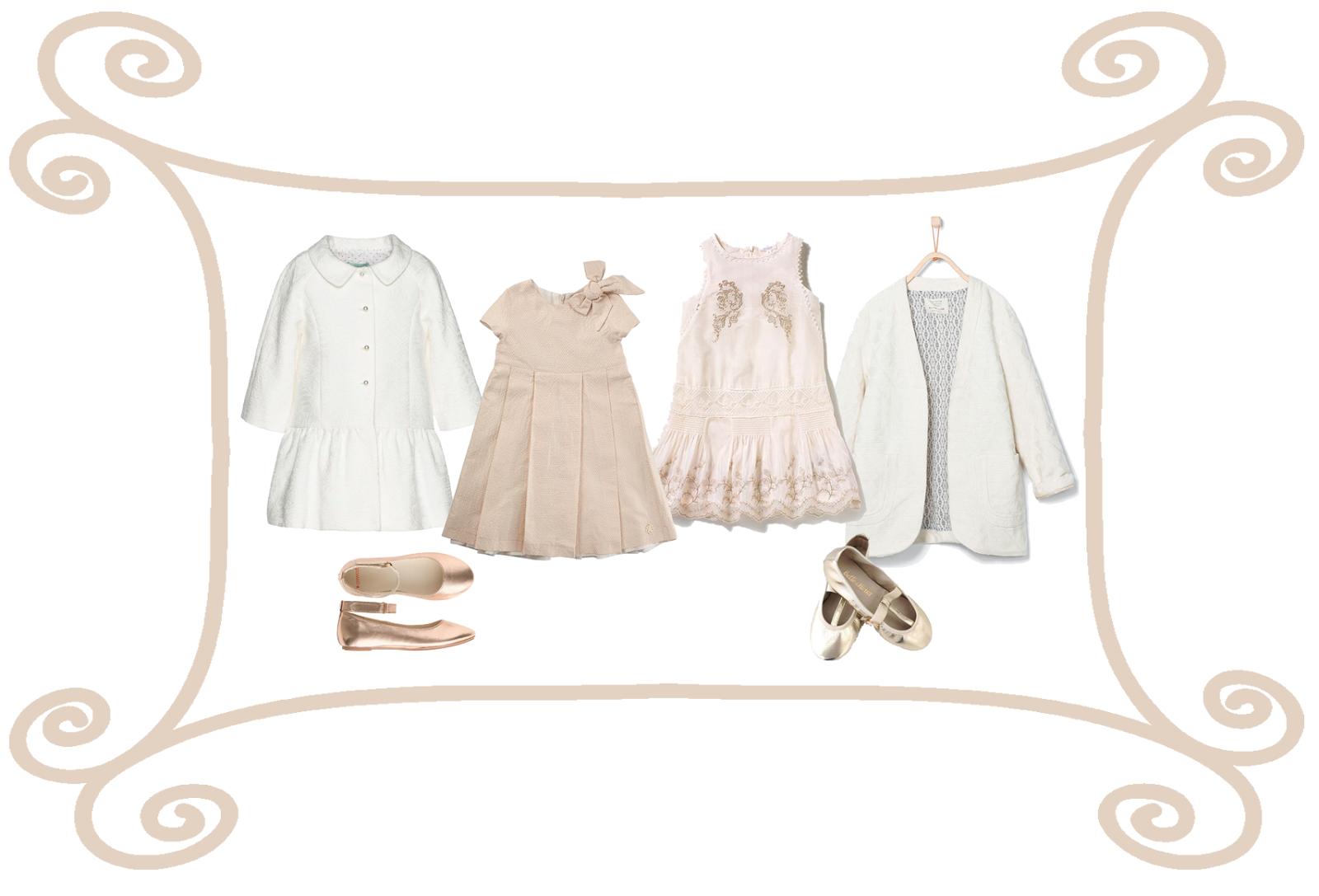 Moda niña para fiesta en oro y blanco #PequeñaFashionista
