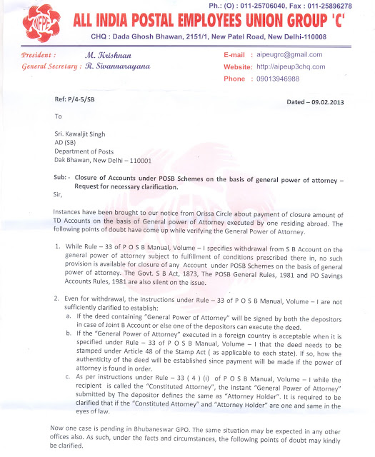 Aipeu gr c bhubaneswar odisha closure of accounts under posb schemes on the basis of general - Post office joint account ...