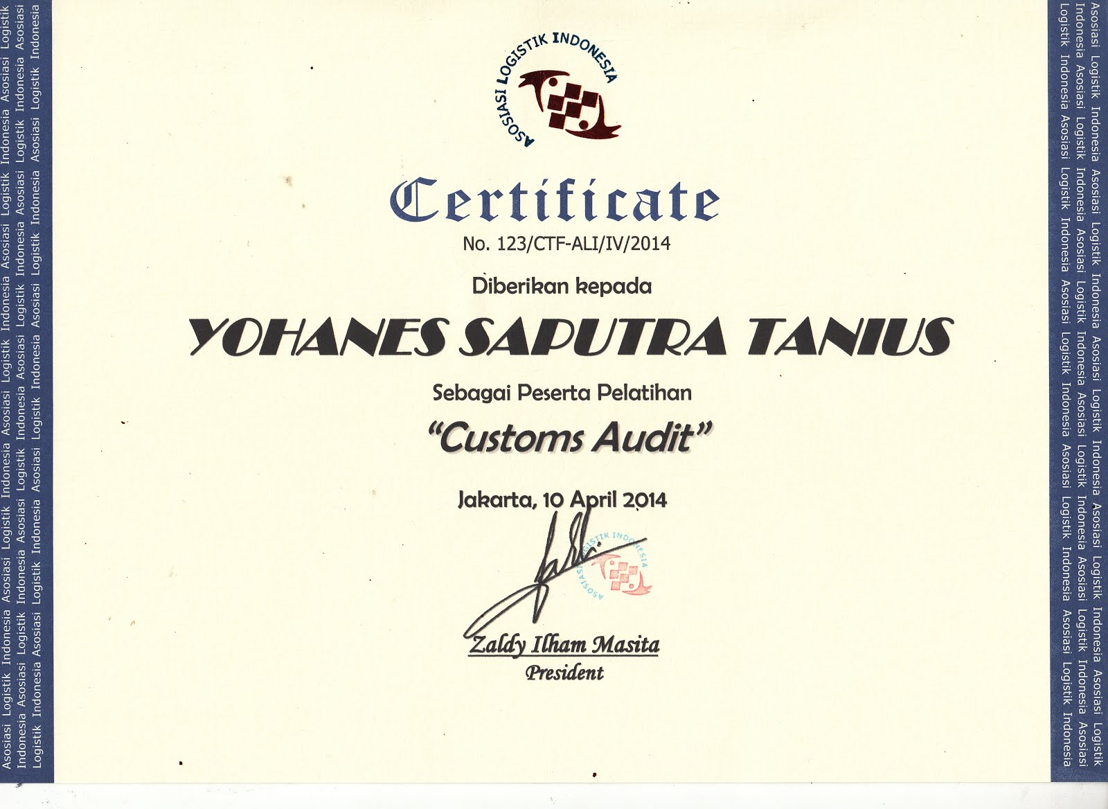 CERTIFICATE CUSTOMS AUDIT
