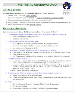OFERTA DE ACTIVIDADES SEMANALES DEL OBSERVATORIO ASTRONÓMICO DE TEMISAS