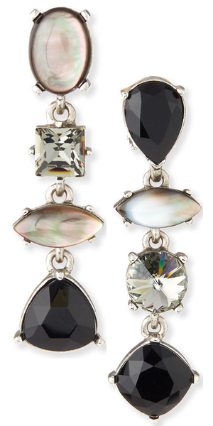 Oscar de la Renta Mixed Swarovski® Crystal Drop Clip Earrings, Black