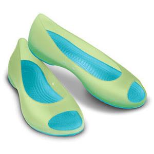 sandal crocs cewek hijau biru