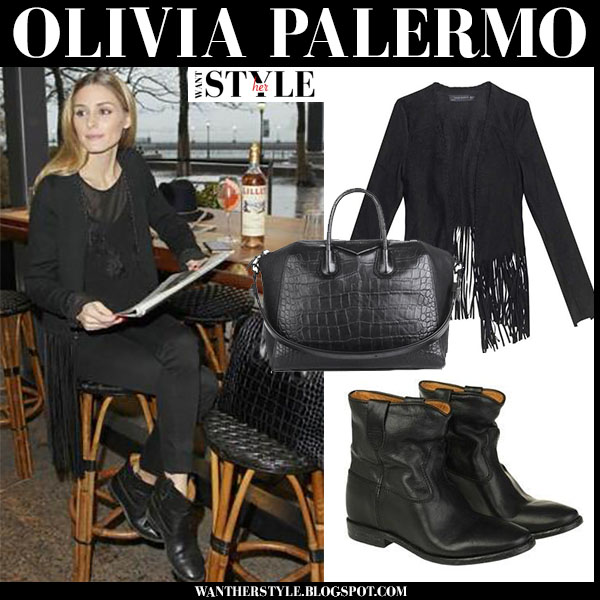Olivia Palermo in fringed cardigan, black jeans and black ankle boots isabel marant cluster what she wore black outfit