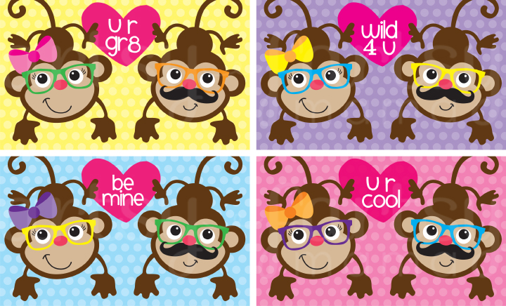 Free Printable Monkey Valentines – Valentines Cards for Girls