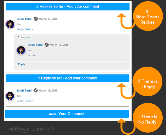 Demo of Changed Blogger Comment box Messages
