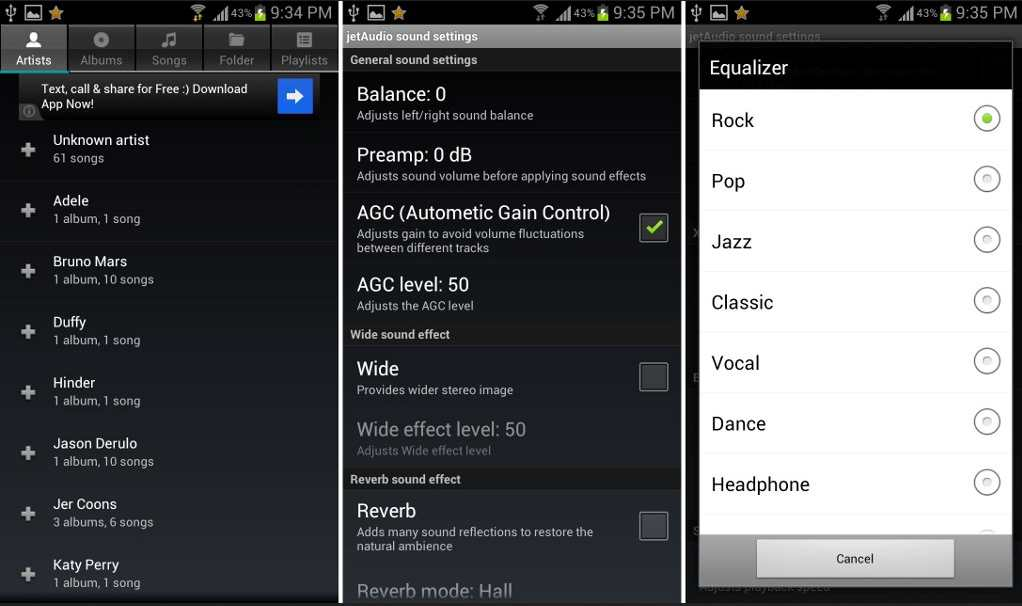 Pemutar musik jetAudio android