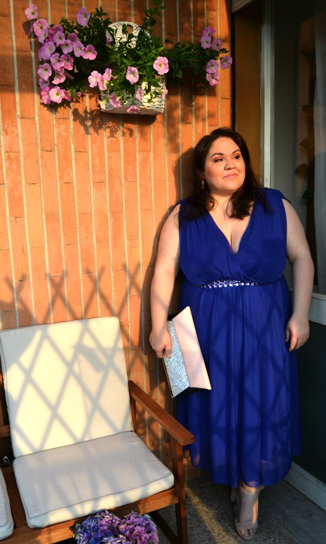 abito cerimonia blu gioiello curvy love
