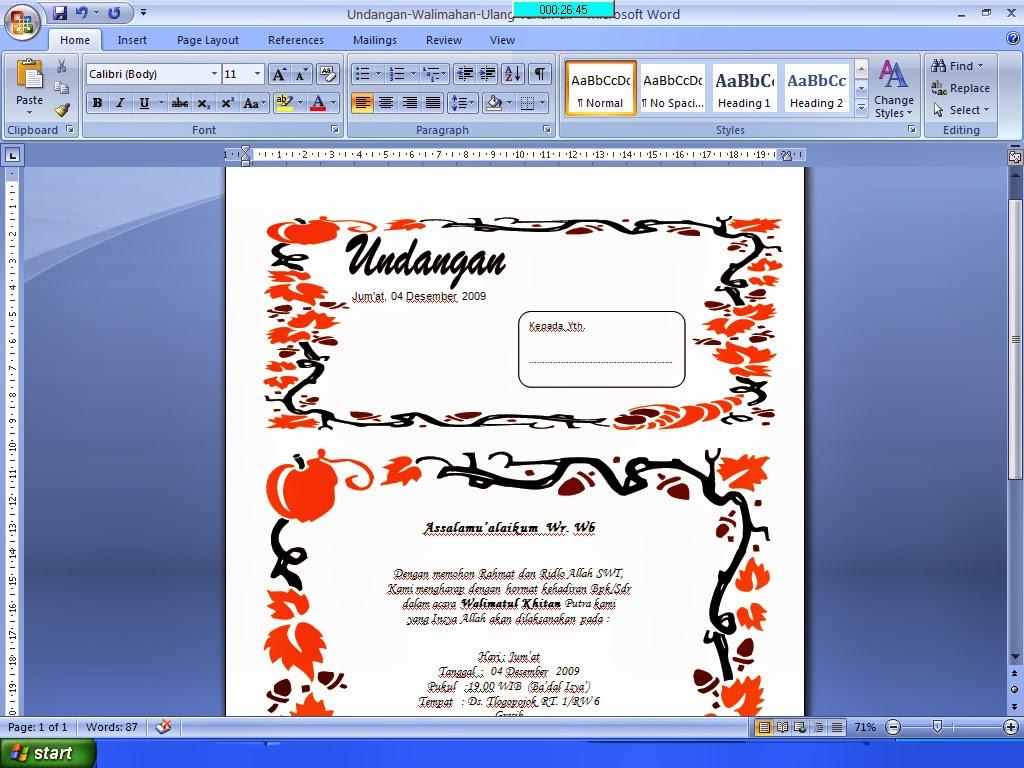 Undangan Khitan Format Office Word | Download