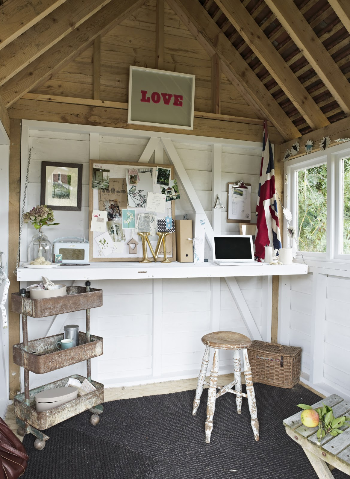 From little acorns oak potting shed for Shed interior ideas