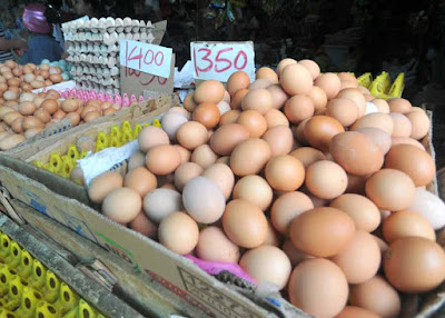HARGA TELUR: Kondisi harga telur yang cederung fluktuatif tak mempengaruhi peminat para pembeli.HARYADI/PONTIANAKPOST