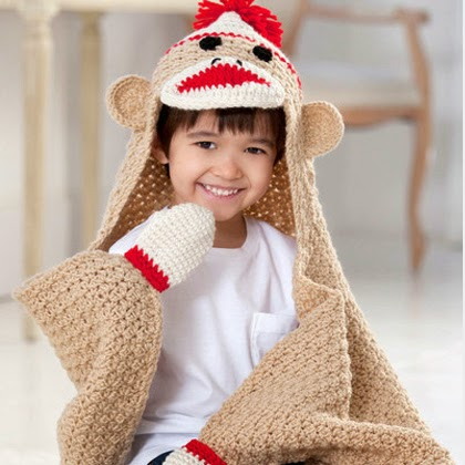 Sock Monkey Crochet Baby Blanket Pattern
