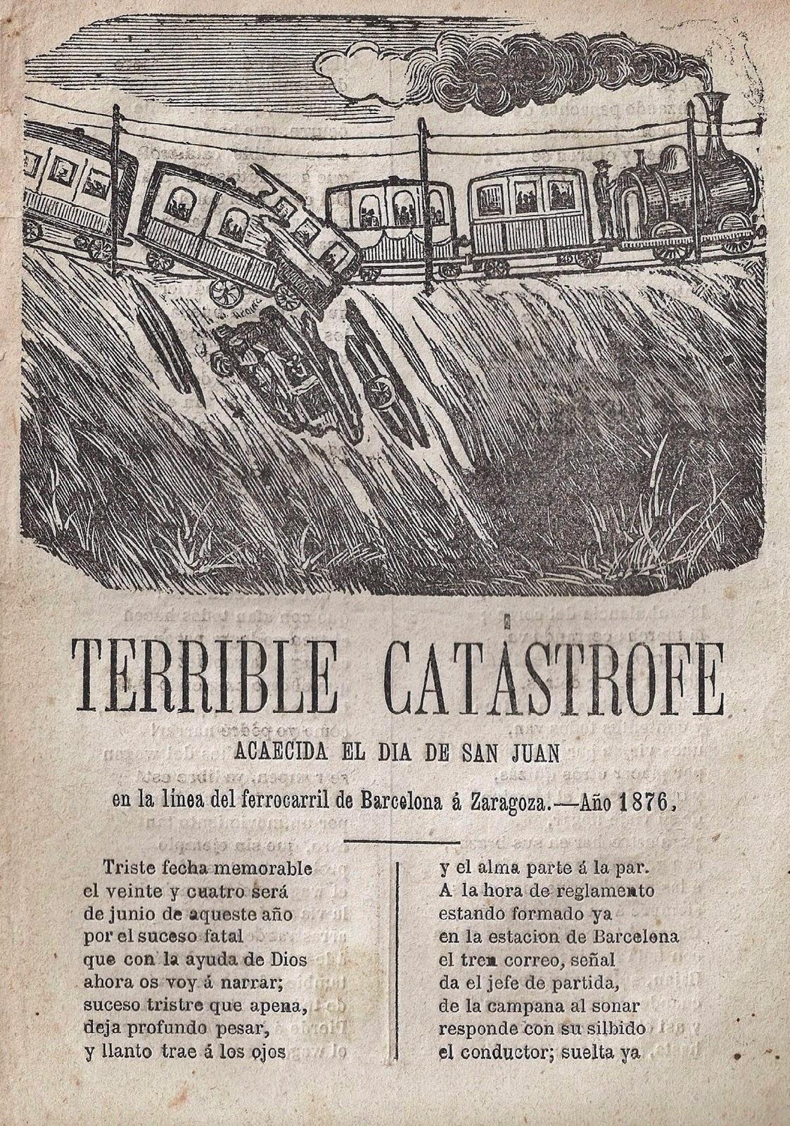 Terrible catástrofe el día de san Juan en ferrocarril. Barcelona