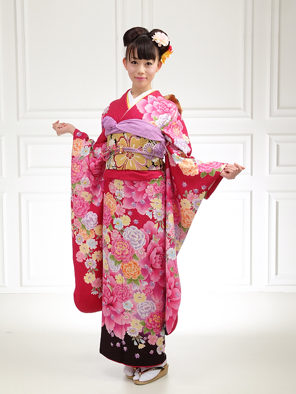 Simple  Printed Satin Red Kimono Traditional Japanese Dress For Women