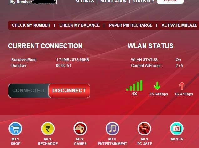 MTS Mblaze Ultra Wi-Fi 1X Speed test