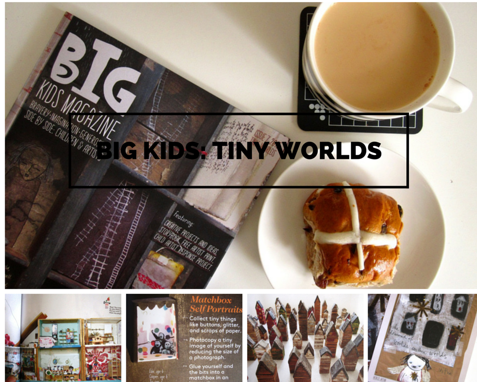 Mosaic of images of and from Big Kids Magazine: Tiny Worlds edition showing various small houses included.