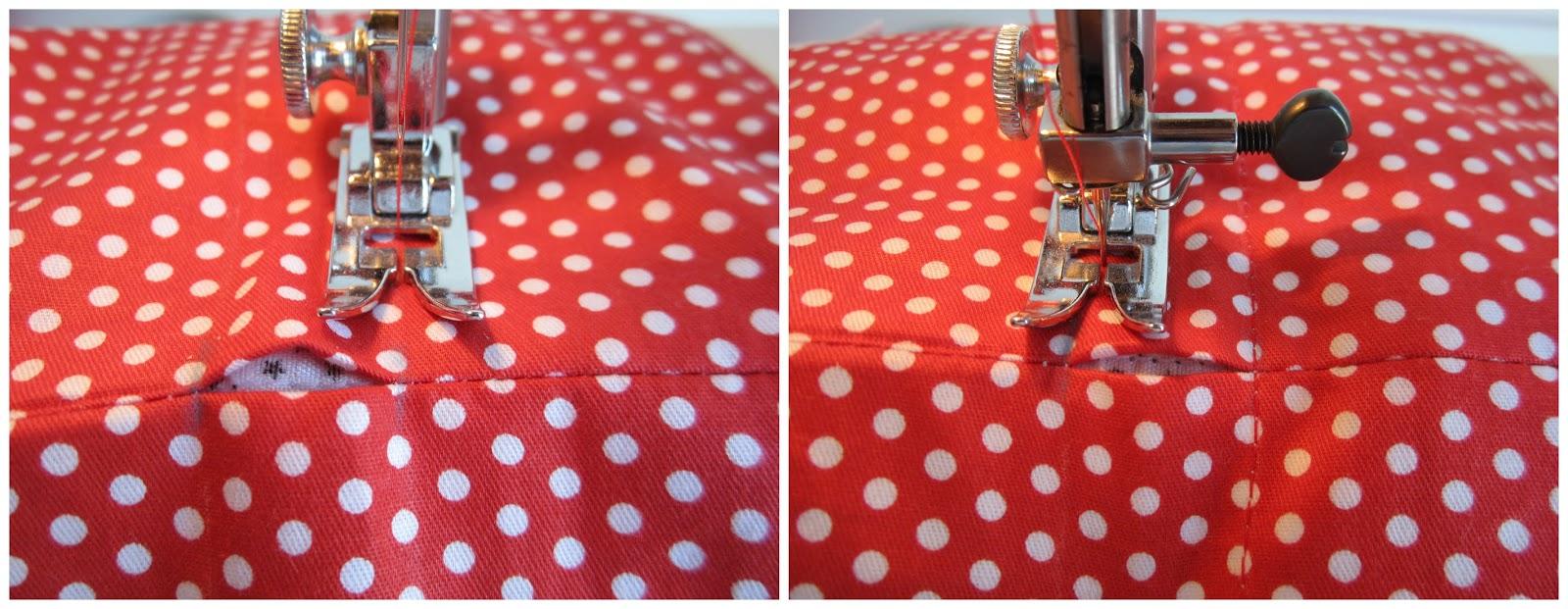 mis nancys, mis peques y yo, tutorial bolsitas de Navidad reversibles, coser pespuntes para carril