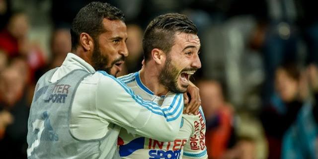 Romain Alessandrini, ici aux côtés d'Alaixys Romao, laisse exploser sa joie après son but contre Lille.