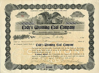 stock certificate issued to and signed by Buffalo Bill Cody