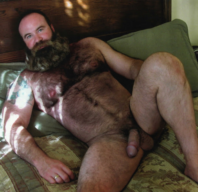 beartime Hairy Bearded Stud with Hot Nipples and Huge Cock