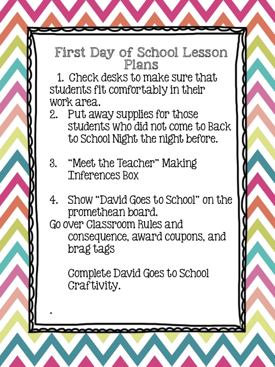 First Day of School Lessons Plans