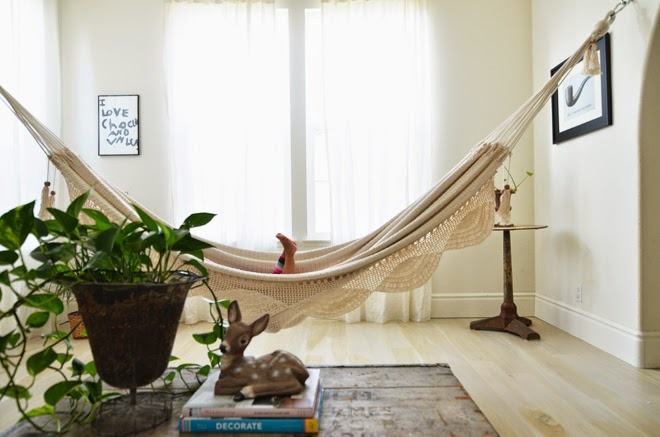 Magnolia styles hang sit relax indoor hammock inspiration for Living room hammock