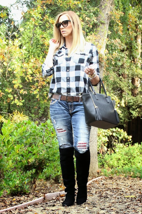 plaid and denim