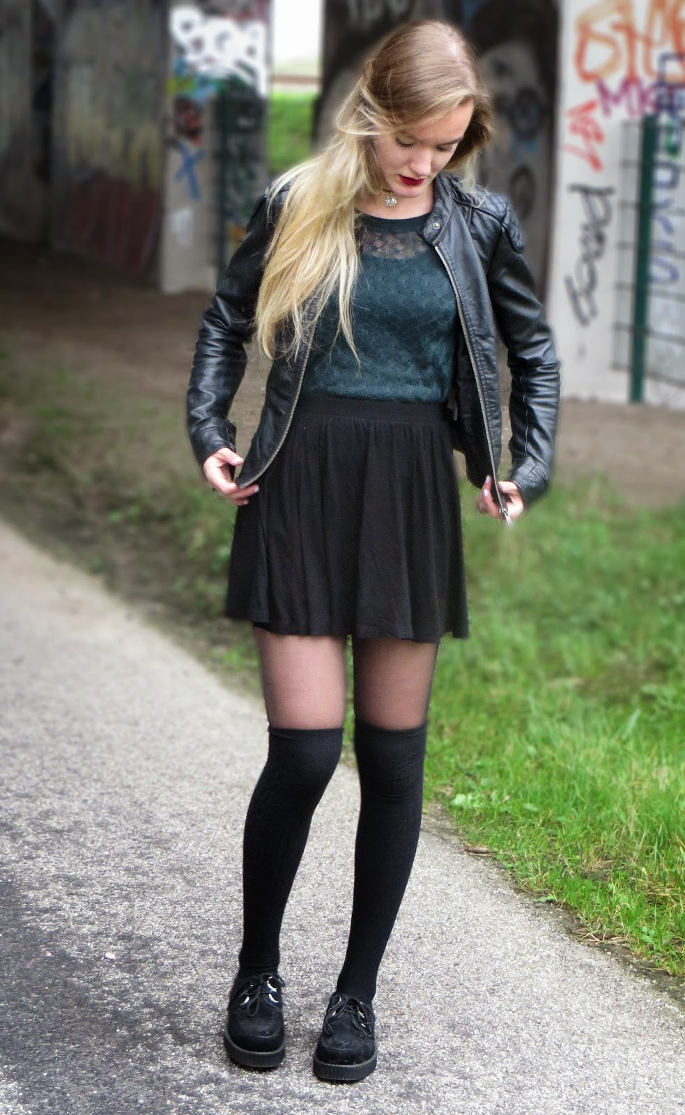 outfit with leather jacket and creepers