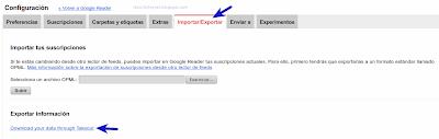 Exportar información de Google Reader