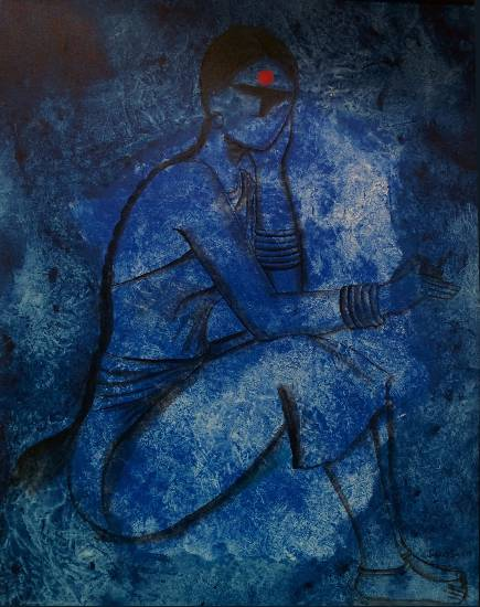 Waiting, painting by Janaki Injety (part of her portfolio of paintings on www.indiaart.com)