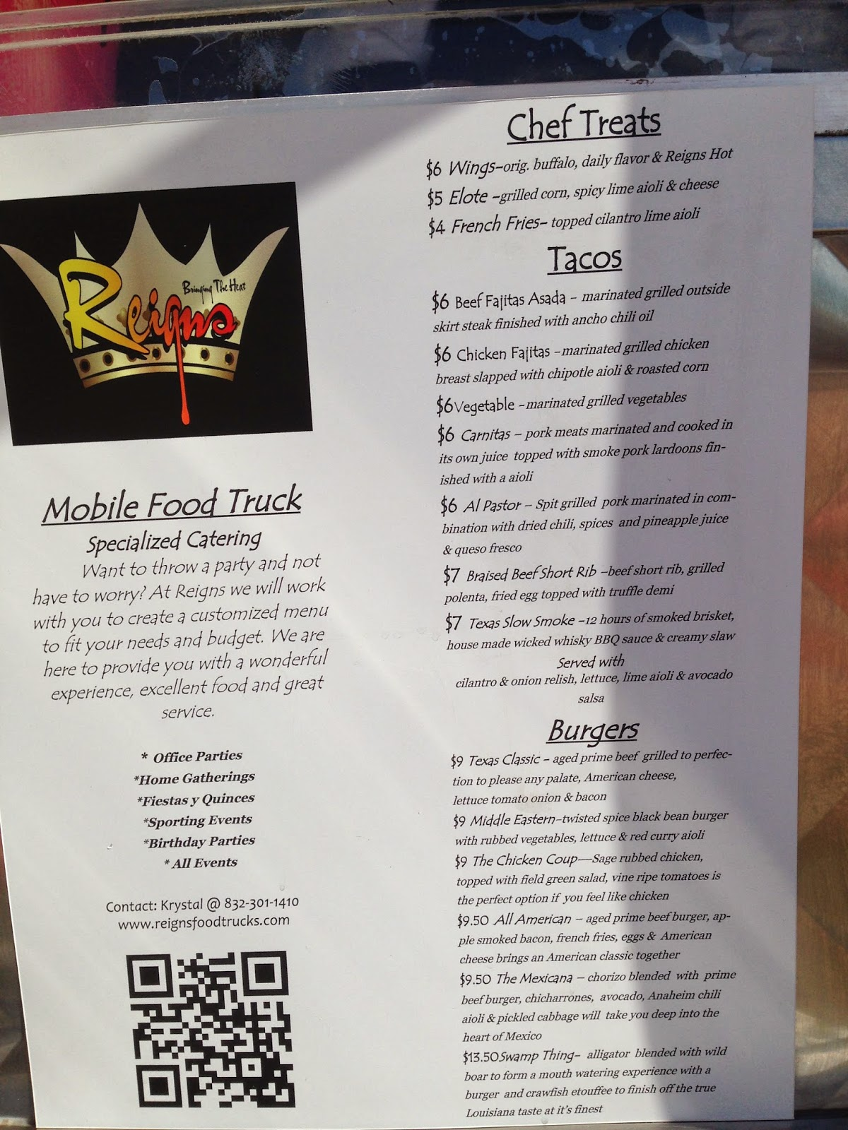 Reigns Food Truck Houston TX Menu