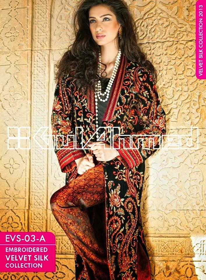 GulAhmedEmbroideredSilkVelvetCoats wwwfashionhuntworldblogspotcom 001 - Gul Ahmed Embroidered Silk Velvet Coats 2014