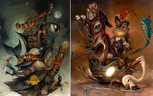 00-Greg-Craola-Simkins-Fantastical-Surreal-Paintings-Full-of-Details