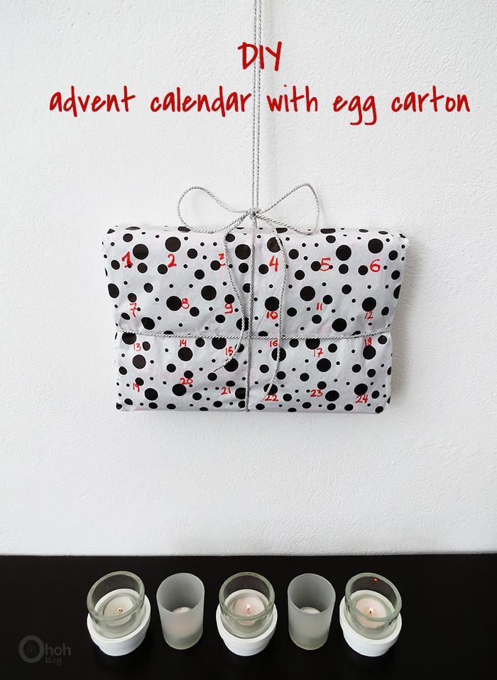 Advent calendar made with egg carton
