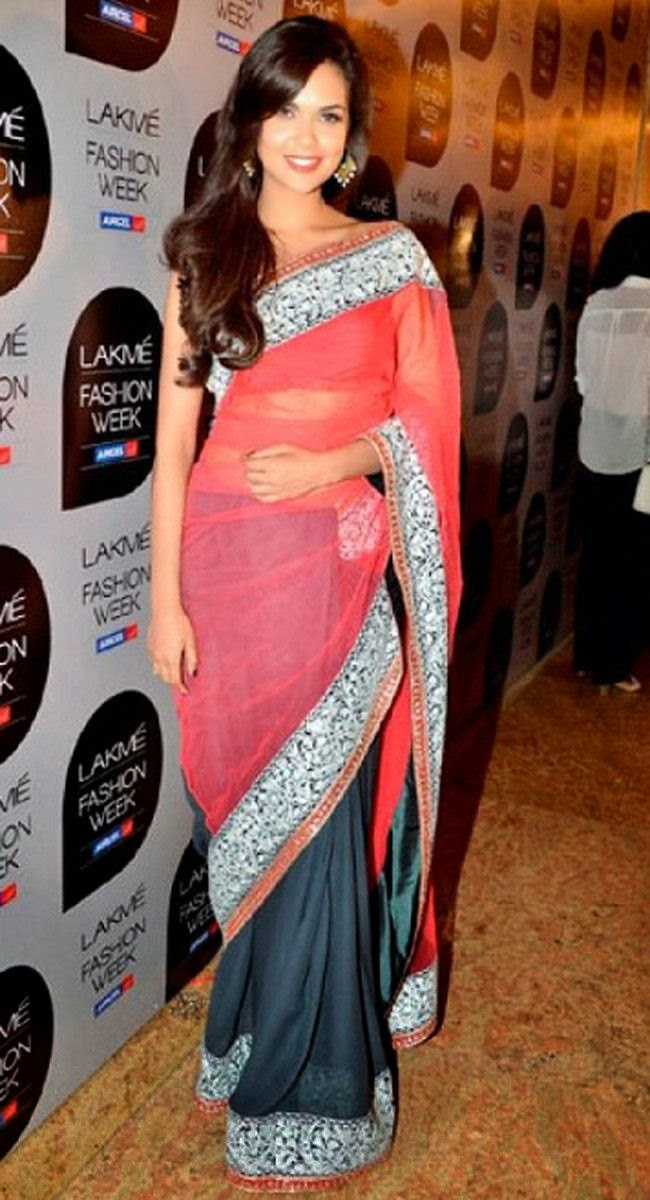Bollywood Actress in Luscious Coral & Steel Blue Embroidered Saree-Lakme Fashion week